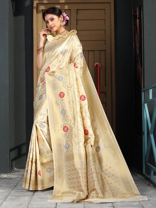 Exclusive Soft silk weaving saree in Beige dvz0001182 - dvanza