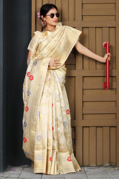 Exclusive Soft silk weaving saree in Beige dvz0001182