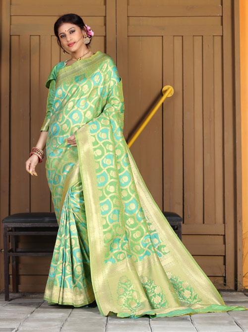 Exclusive Soft silk weaving saree in Green dvz0001178 - dvanza