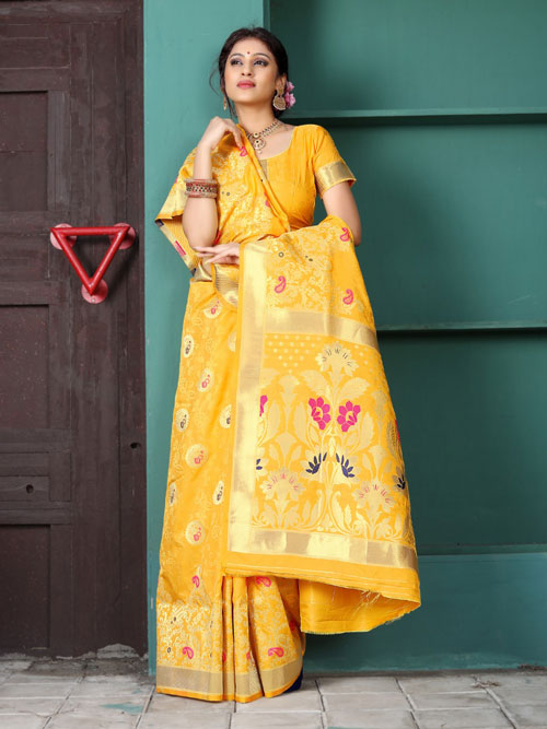 Exclusive Soft silk weaving saree in Yellow dvz0001181 - dvanza