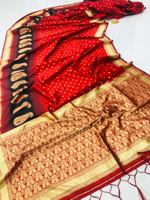 Fancy heavy Banarsi silk stylish Designer saree (Red) dvz0001286