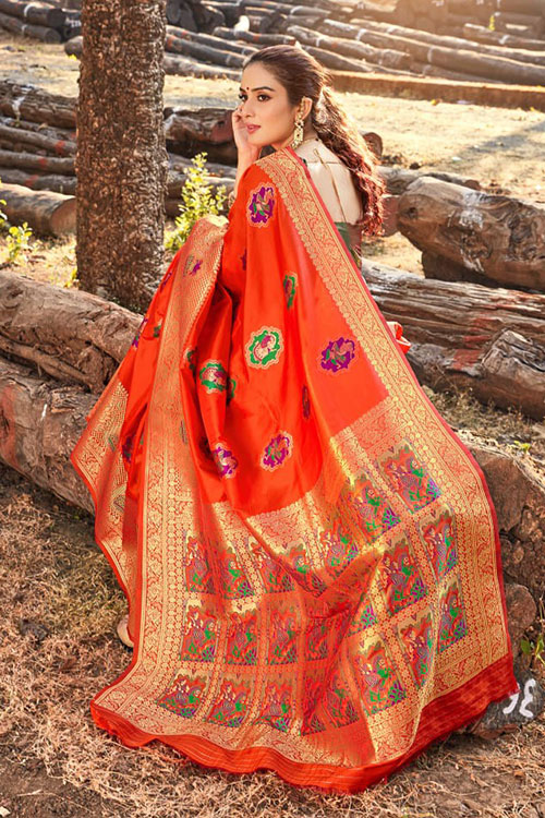 Gorgeous Orange Soft silk saree - silk sarees online india - dvz0001112