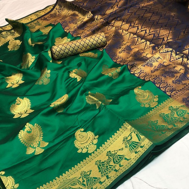 Green Banarasi silk Weaving zari work saree dvz000015 - dvanza.com