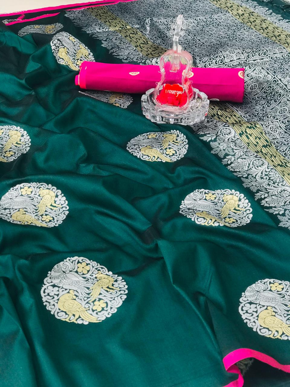 Green Banarasi silk weaving jacquard saree with Rich Pallu dvz0001233
