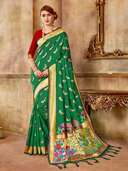 Green Banarasi silk woven saree with blouse piece - Banarasi silk saree