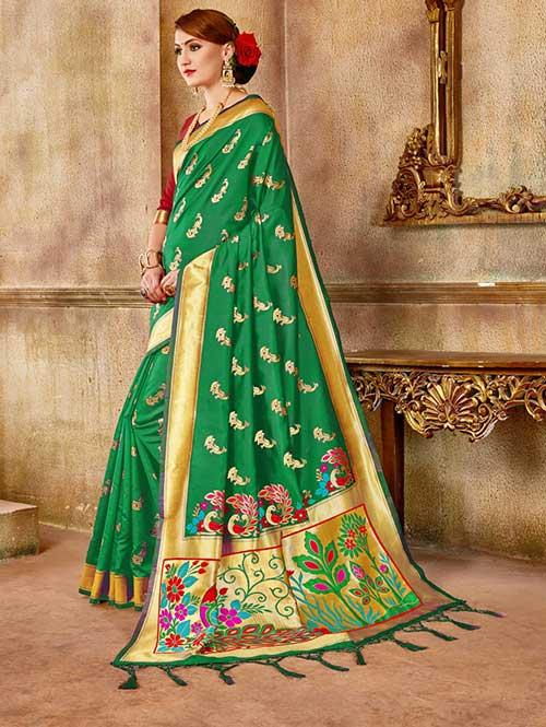 Green Banarasi silk woven saree with blouse piece