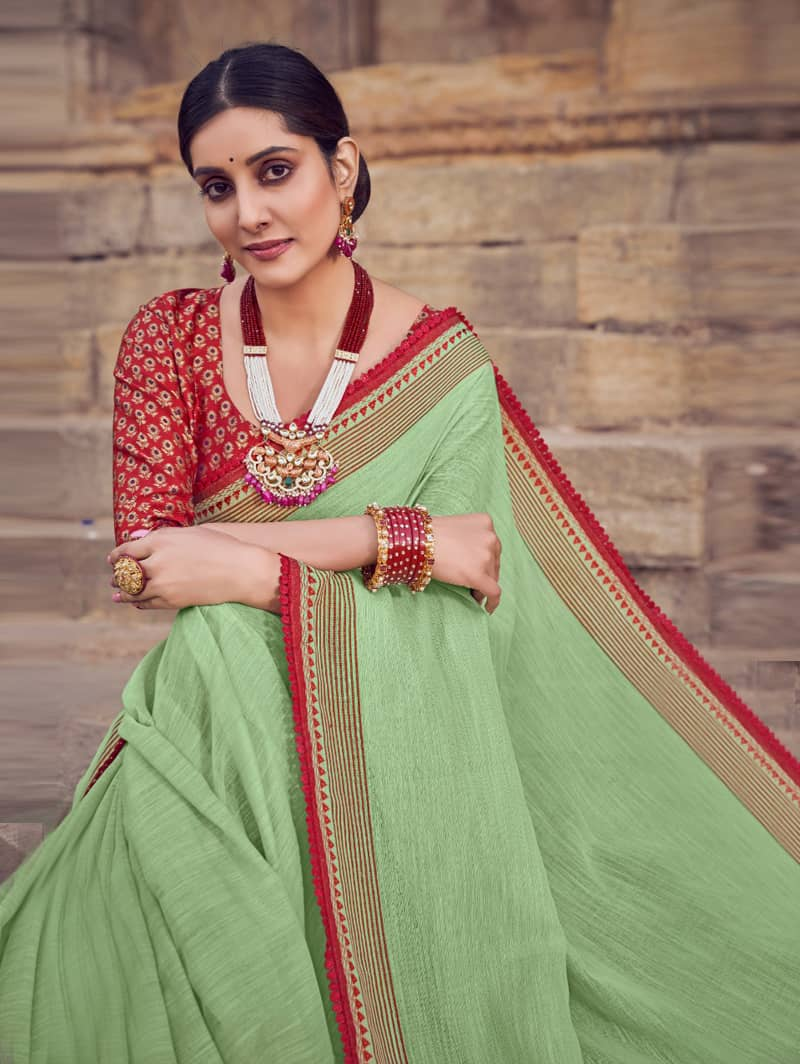 Green Branded Soft Linen silk saree dvz0001785-2