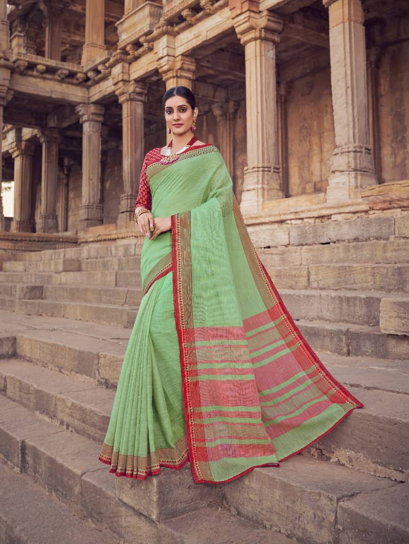 Green Branded Soft Linen silk saree dvz0001785