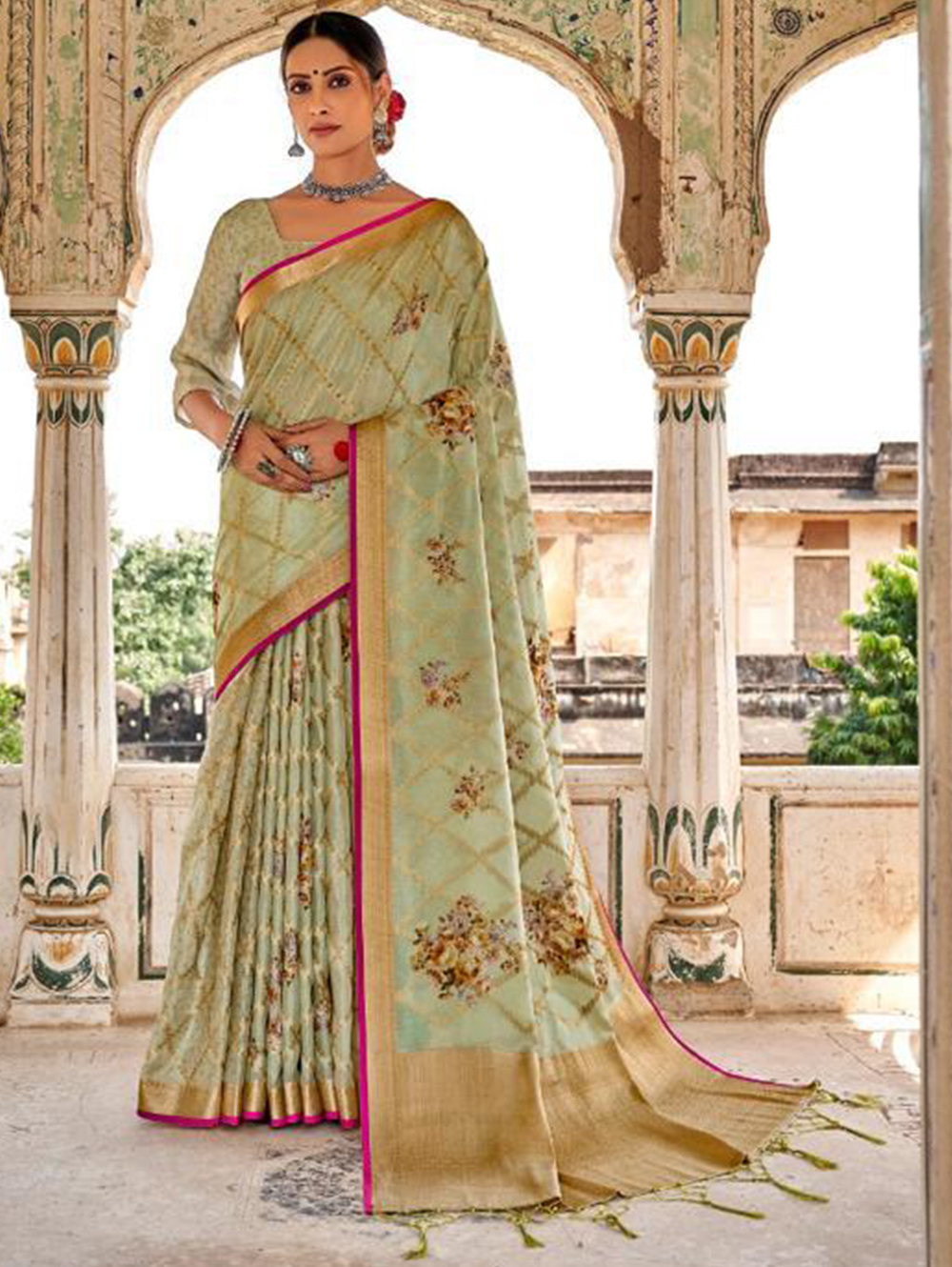 Green Digital Printed Muslin silk saree dvz0001426- Branded saree for ladies