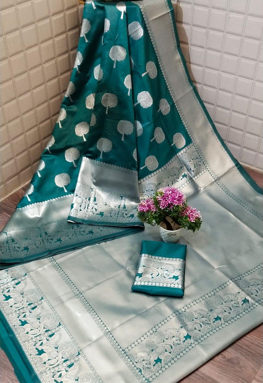 Green Lichi silk Party wear saree dvz0001223 - Silk sarees Online