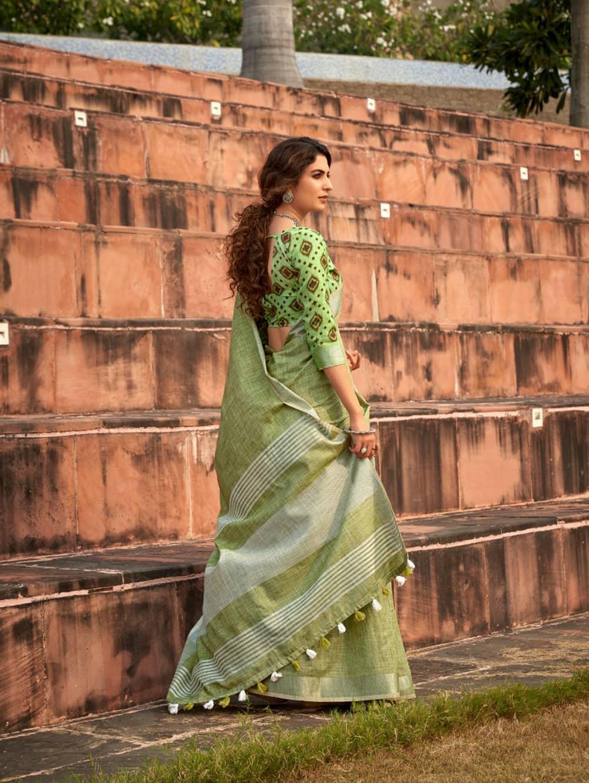 Green Linen Winter Special Saree With Blouse Piece dvz0001444