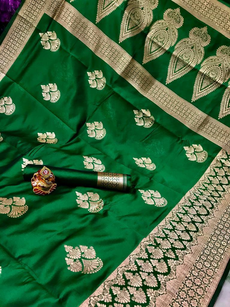 Green Soft Banarasi Cotton Silk Saree dvz0002429