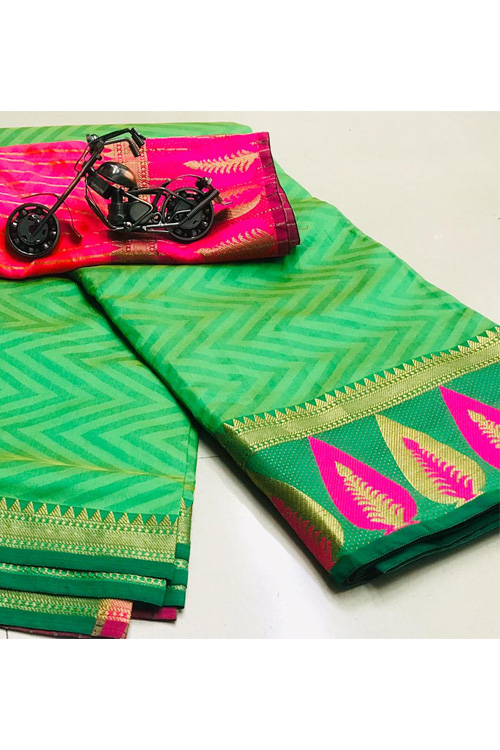 Green Soft Cotton saree with weaving border n weaving blouse dvz0001136