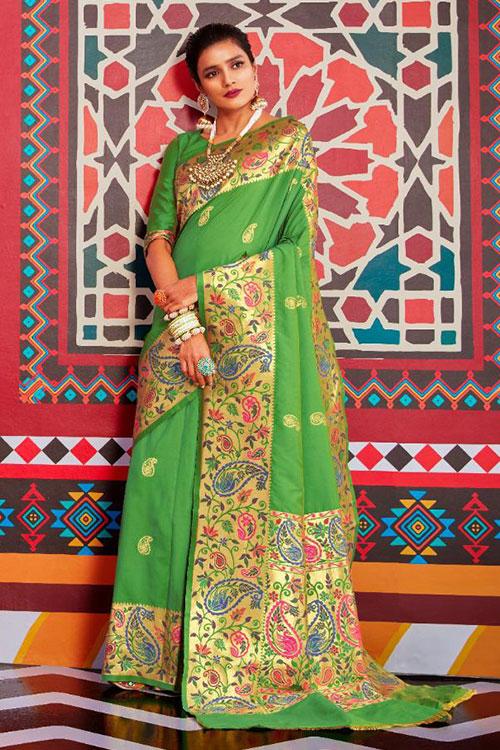 Green Soft Paithini Silk saree - paithani silk saree blouse design dvz0001185