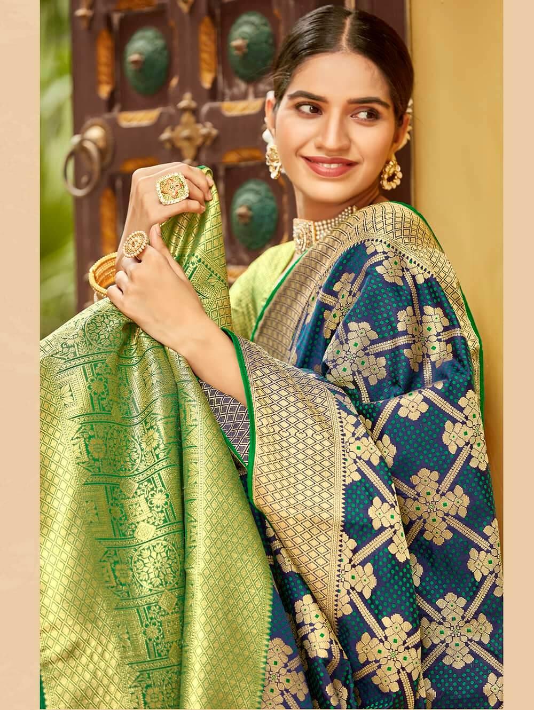 Green Soft silk Weaving Pallu work saree dvz0002667-2