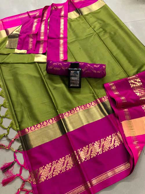 Green cotton silk saree - silk sarees online - shop now Dvanza.com