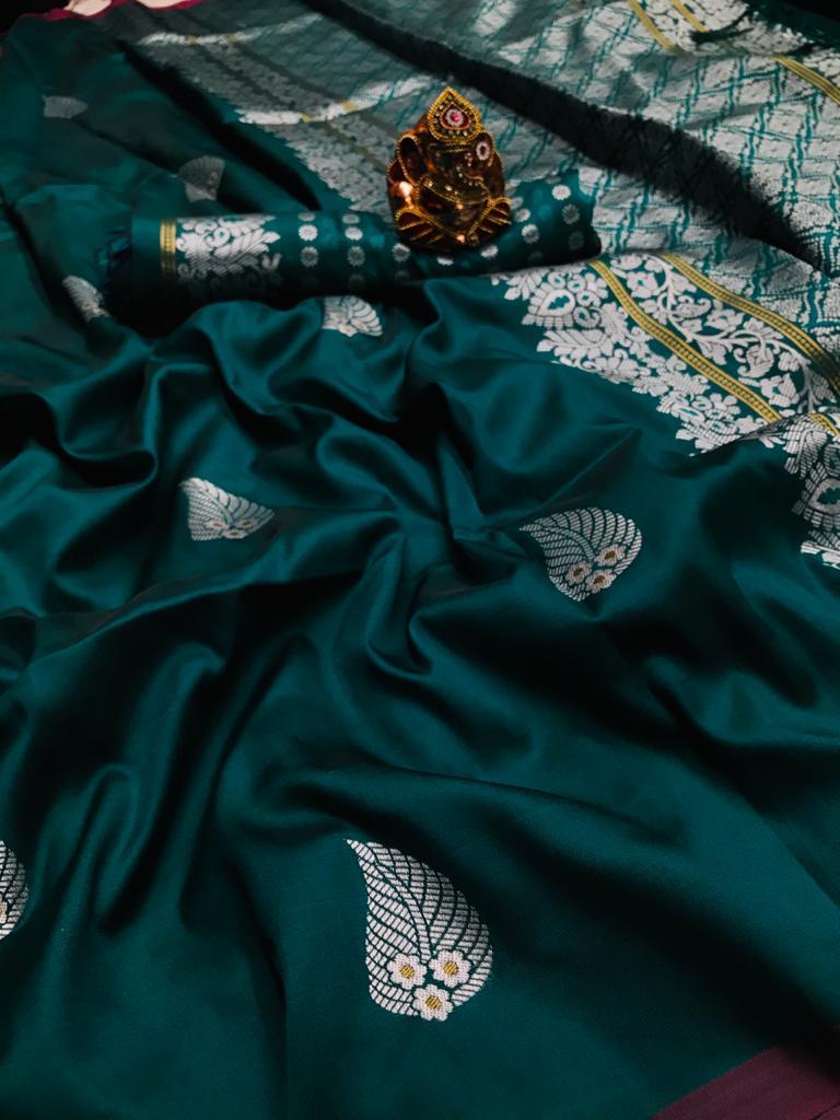 Green lichi silk saree with weaving zari with jalar dvz0001668