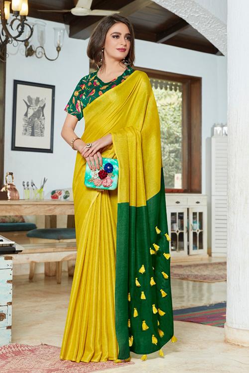 Green linen separate cotton digital blouse with fancy tassels dvz0001051