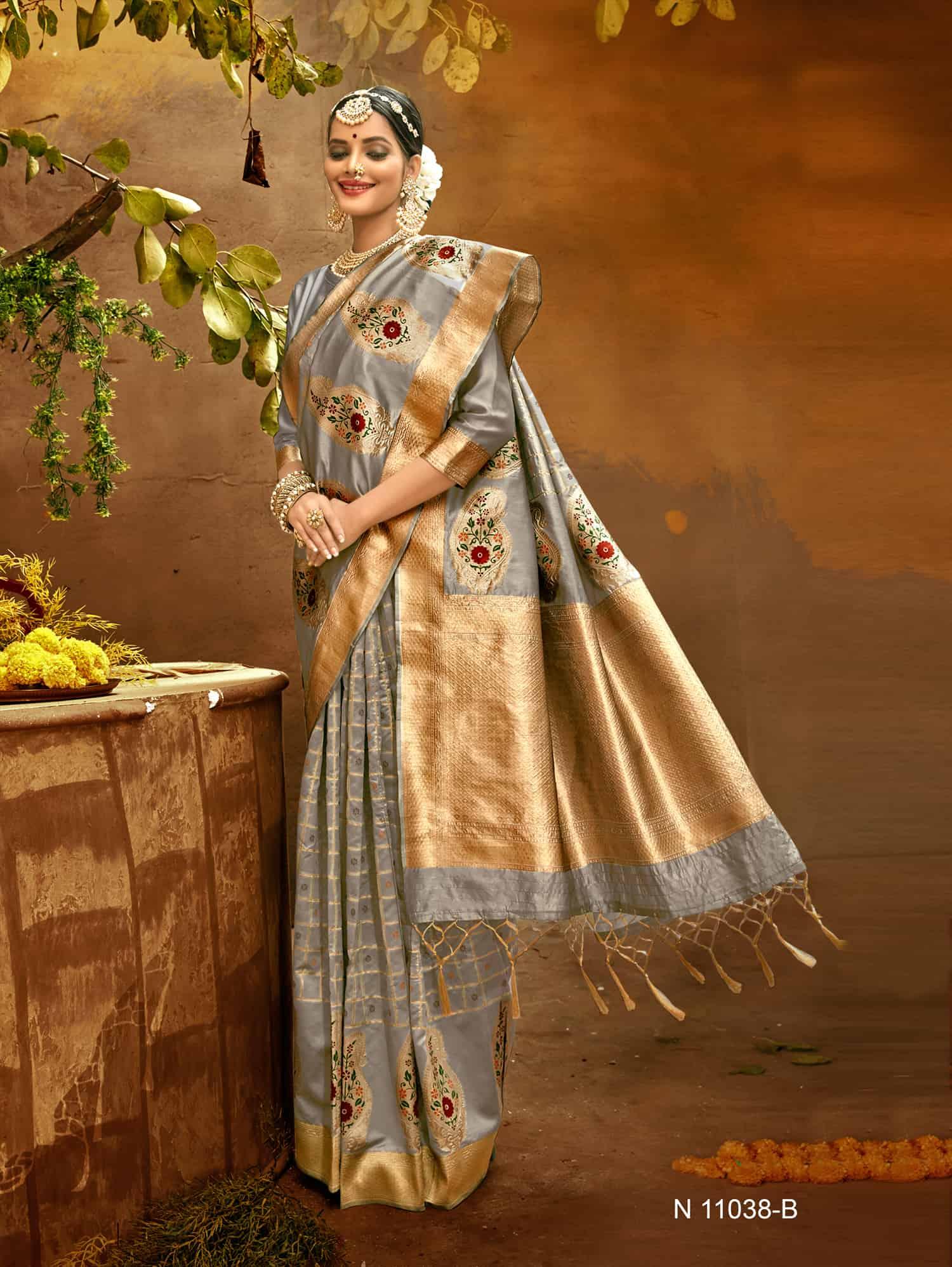 Grey Fancy soft silk Traditional saree dvz0002513
