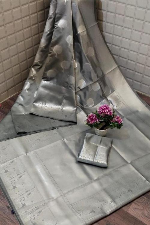 Grey Soft silk woven saree online dvz0001311 - silk woven sarees online