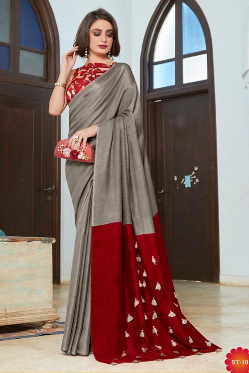Grey linen separate cotton digital blouse with fancy tassels dvz0001052
