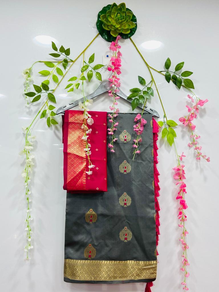 Grey silk cotton sarees online shopping dvz0002077