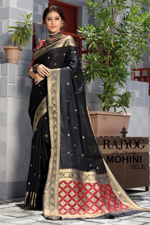 Handloom Cotton Weaving silk Black saree with Patola Design Blouse Pallu dvz0001192