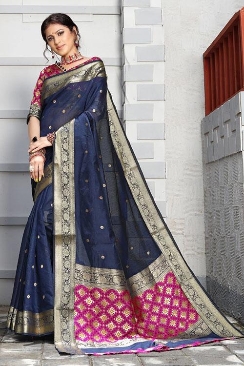 Handloom Cotton Weaving silk Blue saree with Patola Design Blouse & Pallu dvz0001193