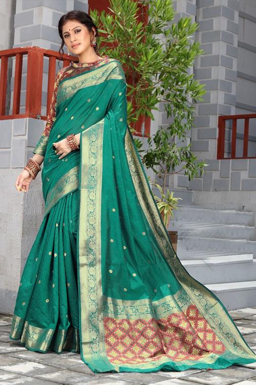 Handloom Cotton Weaving silk Green saree with Patola Design Blouse & Pallu dvz0001196
