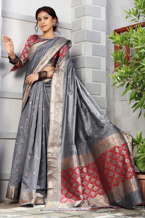 Handloom Cotton Weaving silk Grey saree with Patola Design Blouse & Pallu dvz0001194