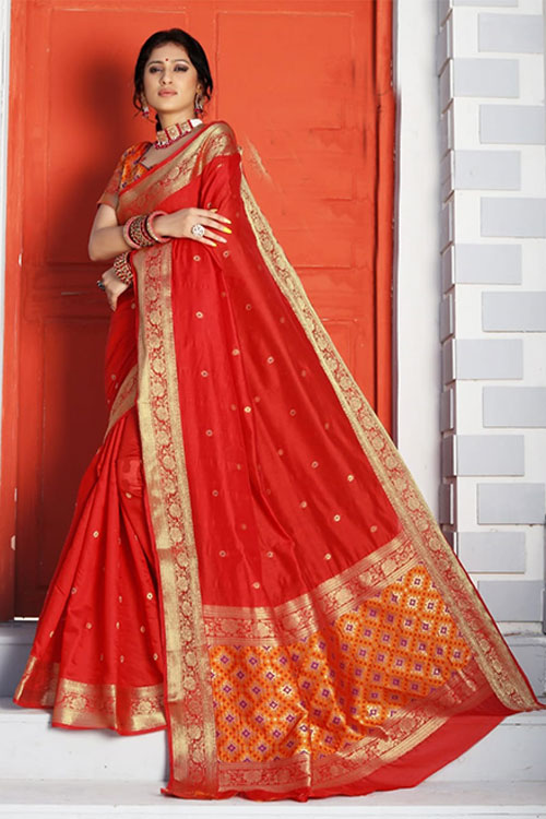 Handloom Cotton Weaving silk Red saree with Patola Design Blouse & Pallu dvz0001195