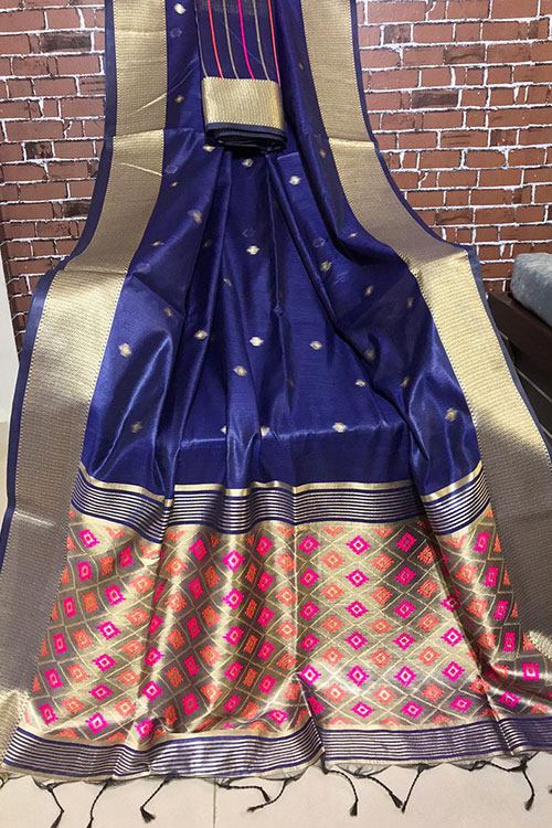 Handloom cotton weaving Blue saree with exclusive woven Blouse Piece - Branded sarees Online - dvz0001099