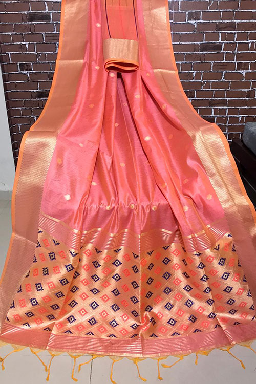Handloom cotton weaving Peach saree with exclusive woven Blouse Piece - Branded sarees Online - dvz0001100