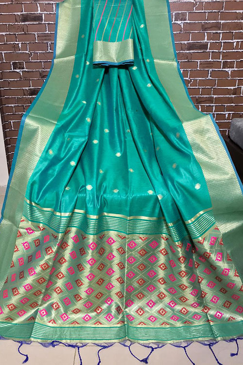 Handloom cotton weaving sea green saree with exclusive woven Blouse Piece - Branded sarees Online - dvz0001103