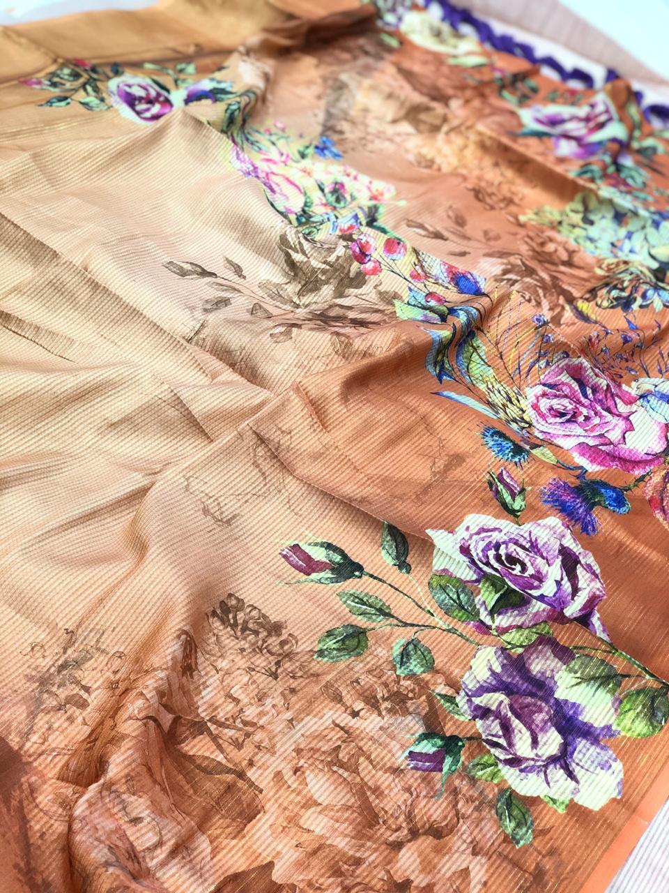 Japanese Rainbow silk Digital Printed Saree dvz0001735
