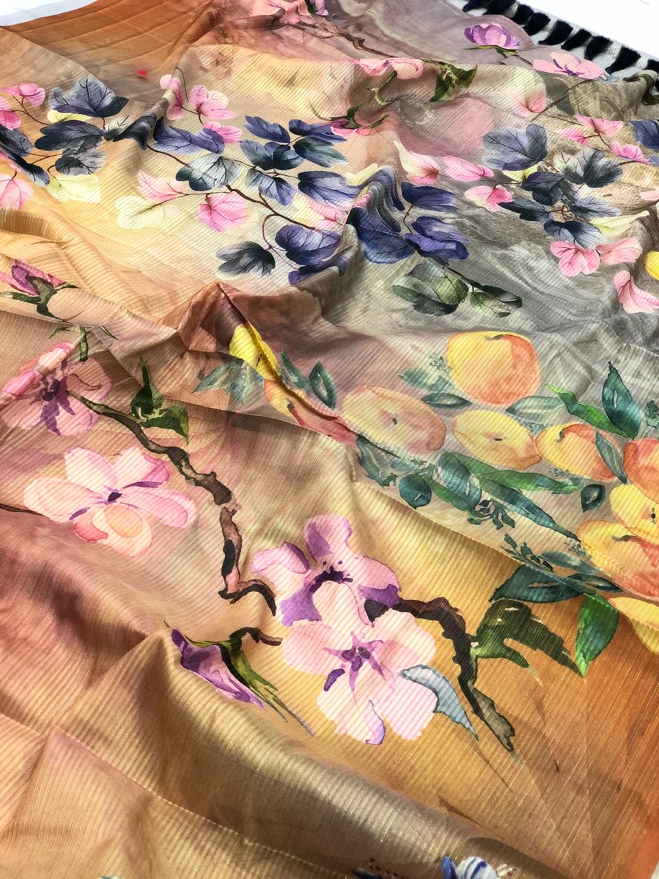 Japanese Rainbow silk Digital Printed Saree dvz0001737
