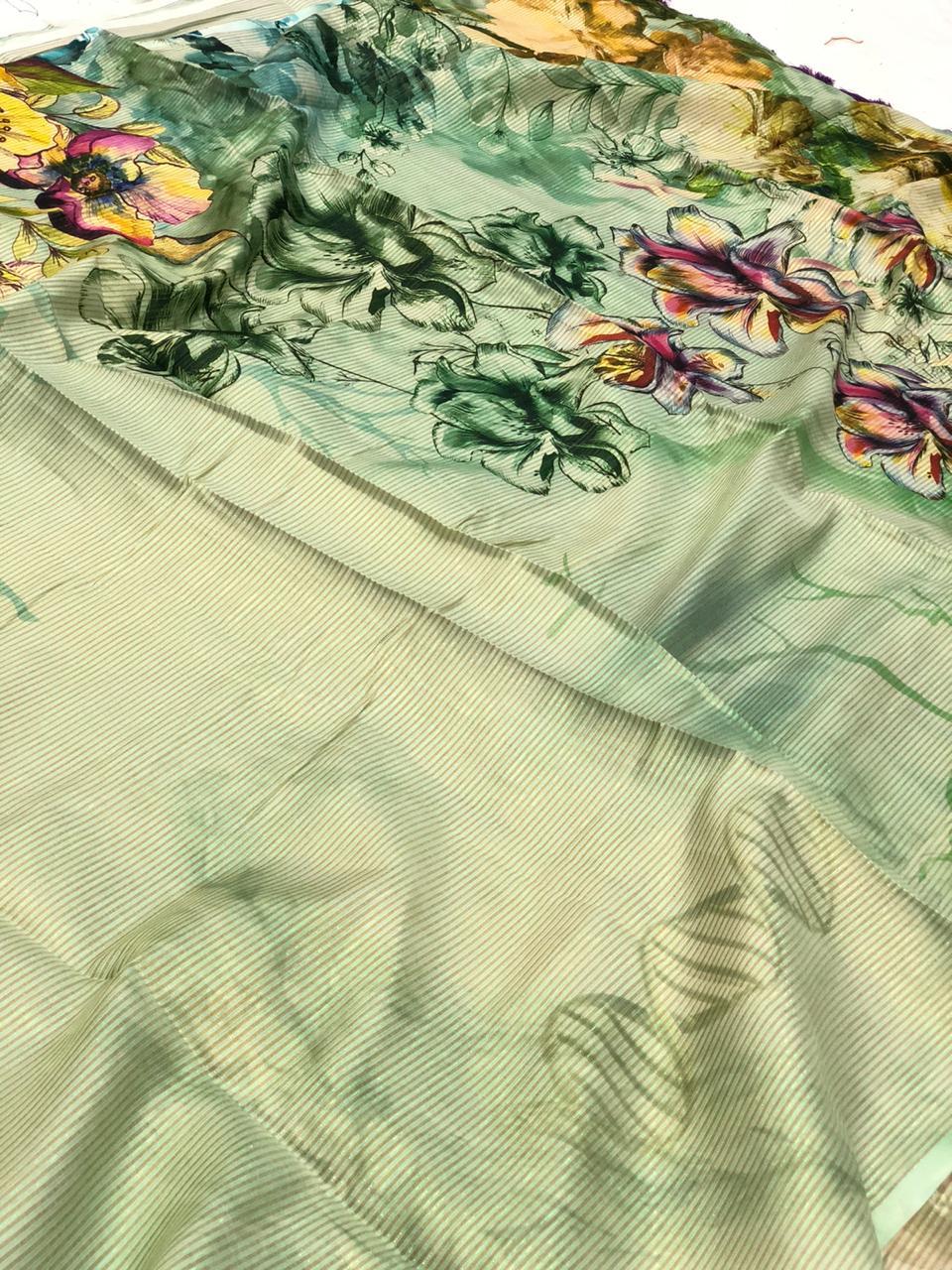 Japanese Rainbow silk Digital Printed Saree dvz0001738