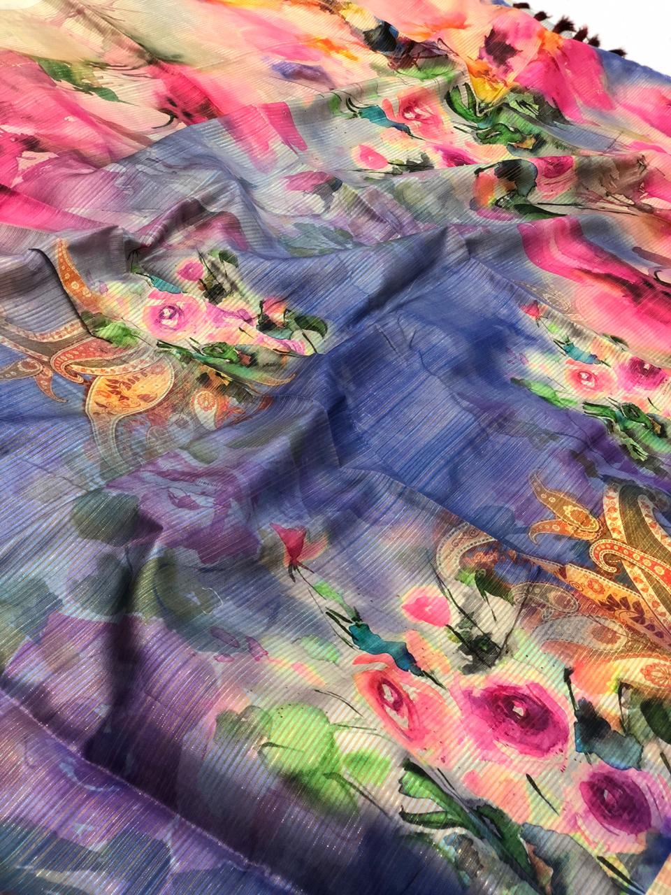 Japanese Rainbow silk Digital Printed Saree dvz0001740