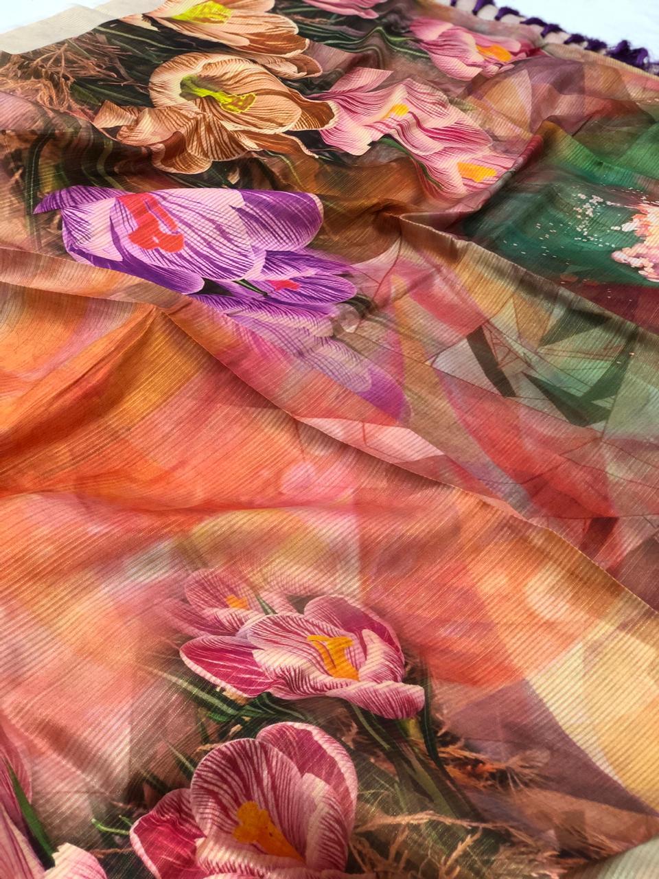Japanese Rainbow silk Digital Printed Saree dvz0001741