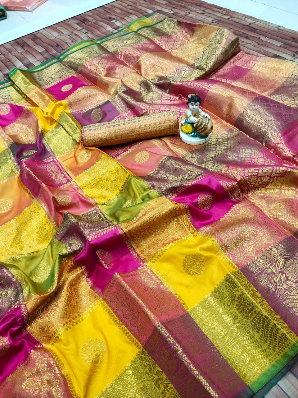 Kanchipuram soft lichi silk Box Design saree dvz0002155