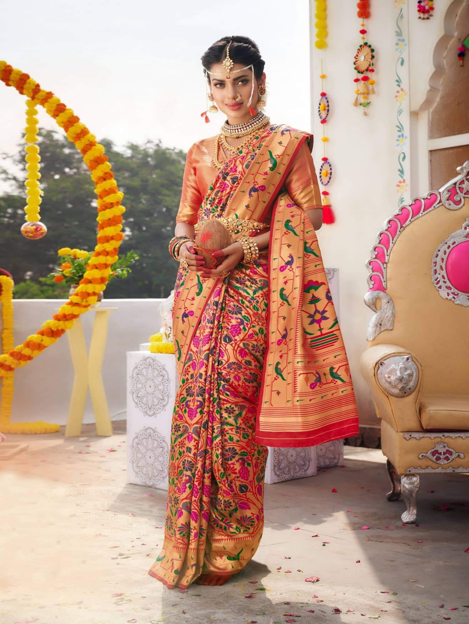 Latest Designer Kanchipuram Silk Bridal Saree dvz0002473