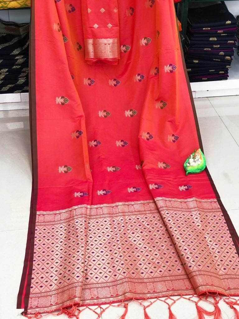 Lichi Silk Saree in Peach dvz0002290