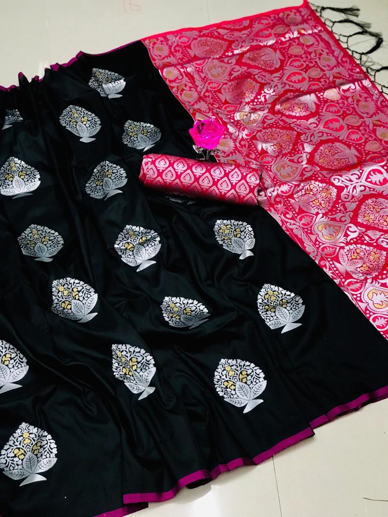 Lichi Silk Weaving Jacquard Saree in Black dvz0002605