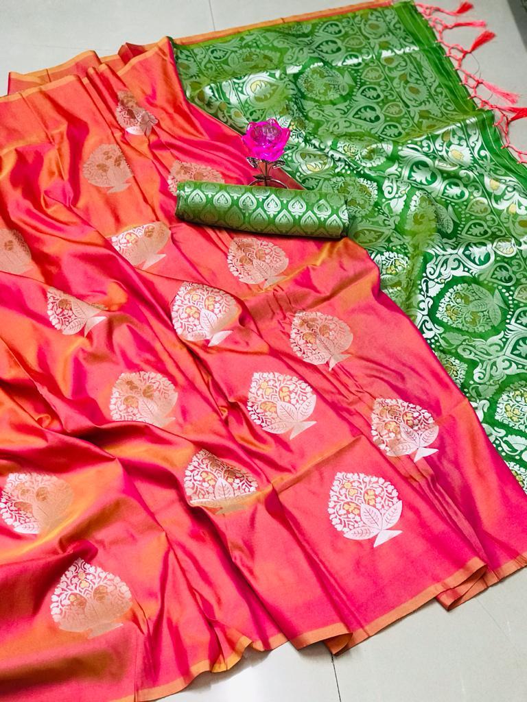 Lichi Silk Weaving Jacquard Saree in Peach dvz0002607