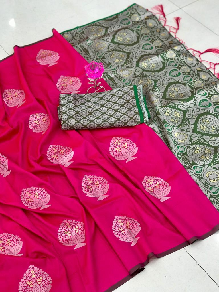 Lichi Silk Weaving Jacquard Saree in Pink dvz0002608