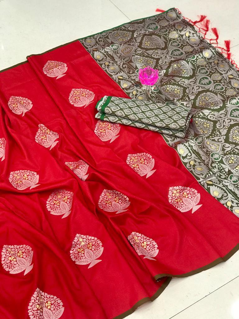 Lichi Silk Weaving Jacquard Saree in Red dvz0002609