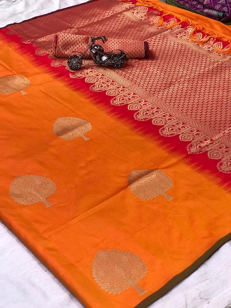 Lichi silk weaving jacquard saree with beautiful weaving blouse (Mustard) dvz0001321