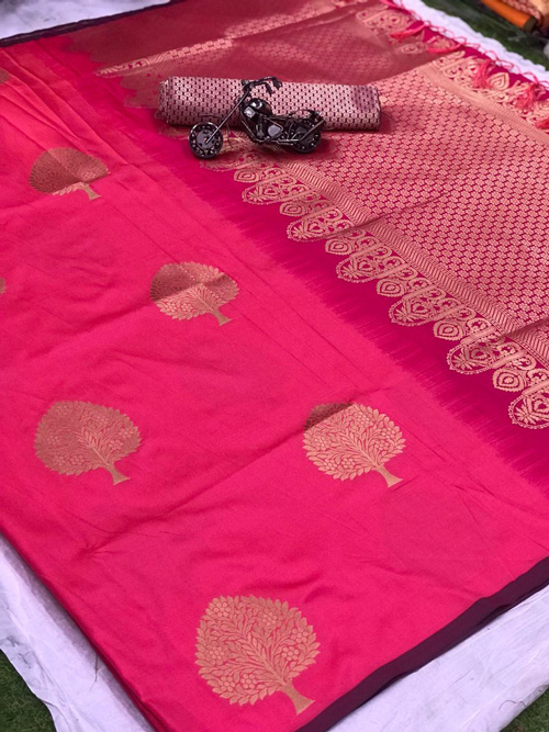 Lichi silk weaving jacquard saree with beautiful weaving blouse (Pink) dvz0001318