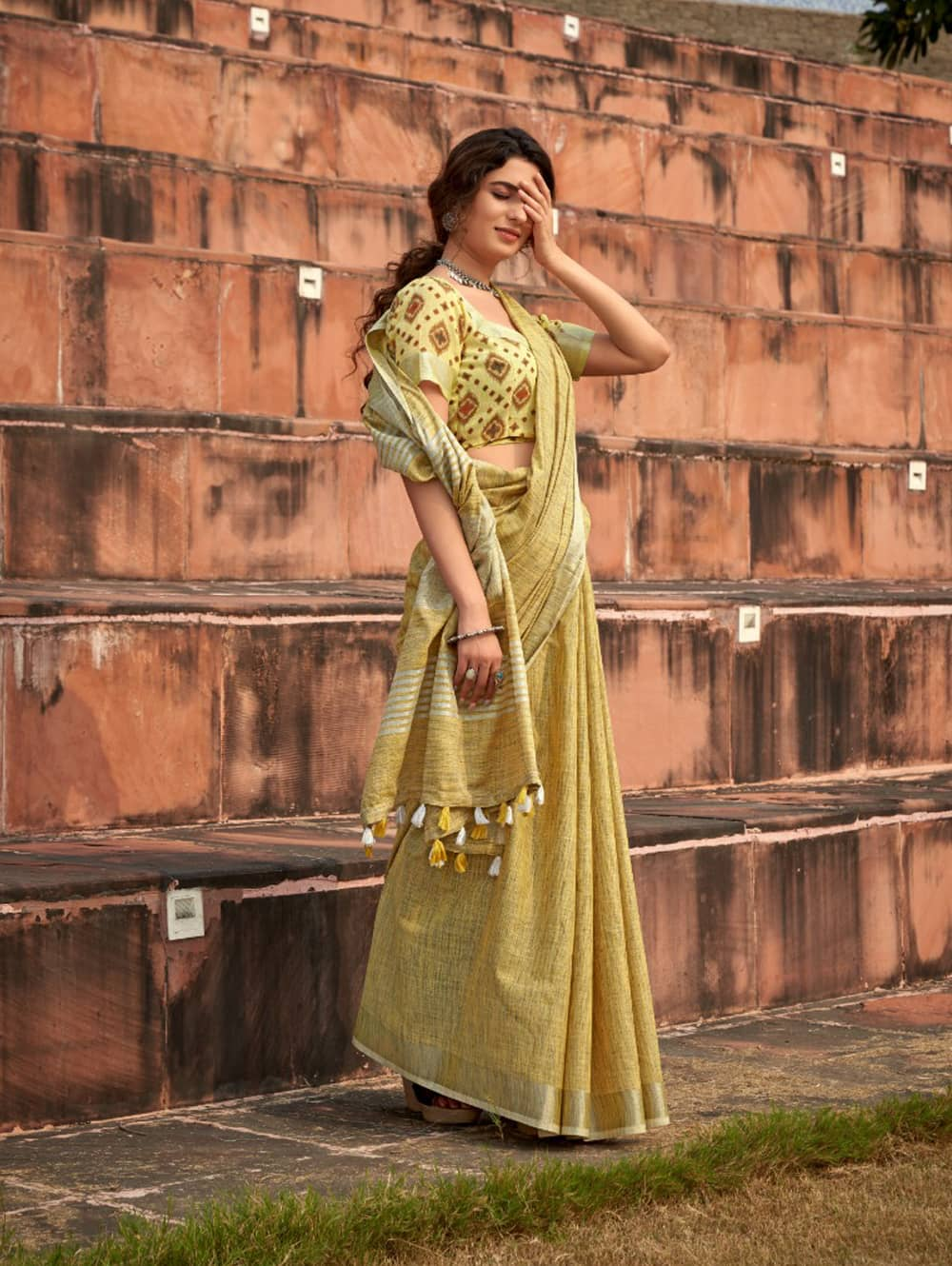 Light Green Linen Winter Special Saree With Blouse Piece dvz0001445 - Branded sarees online shopping