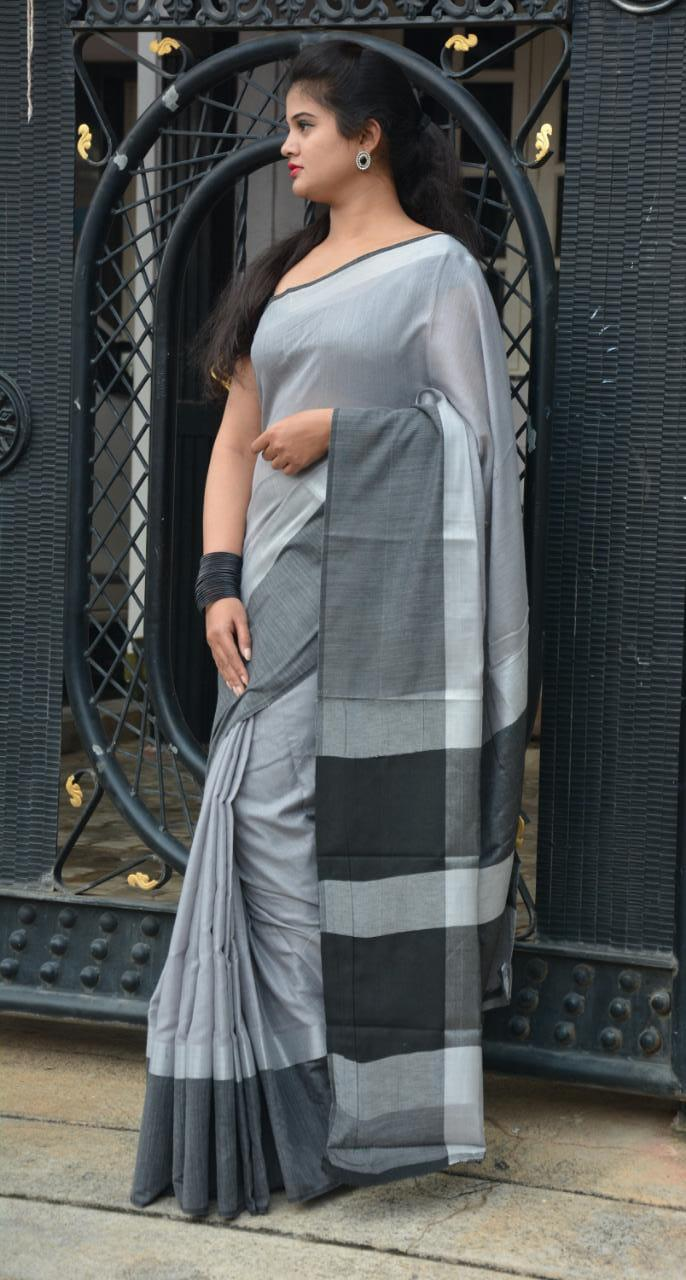 Linen saree with Blouse - linen silk sarees online (Grey) dvz000026